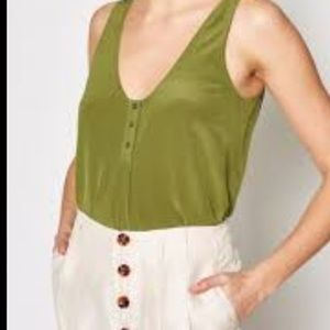joie green silk tank top